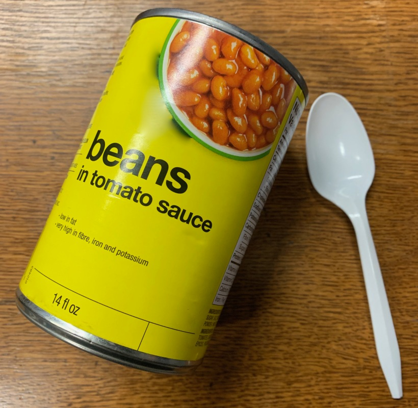 beans in a can, beans with a plastic spoon