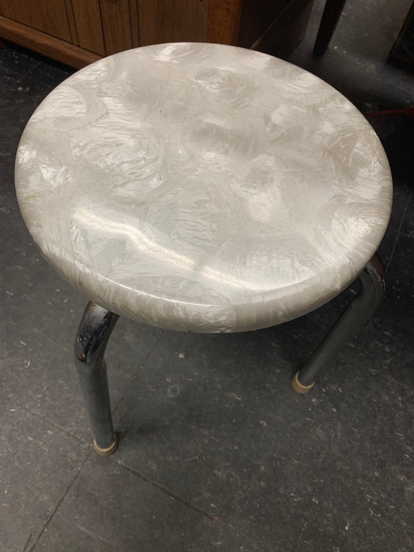 White and chrome mid-century stool